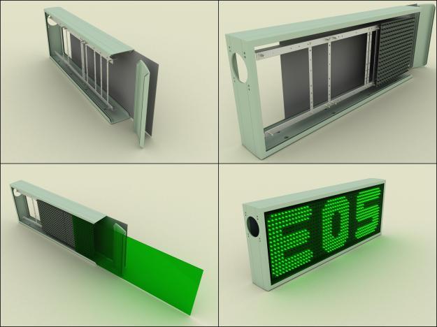 Infografias del montaje de una pantalla LED.