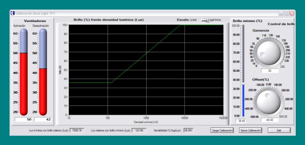 Ventana de calibración del software de fabrica.