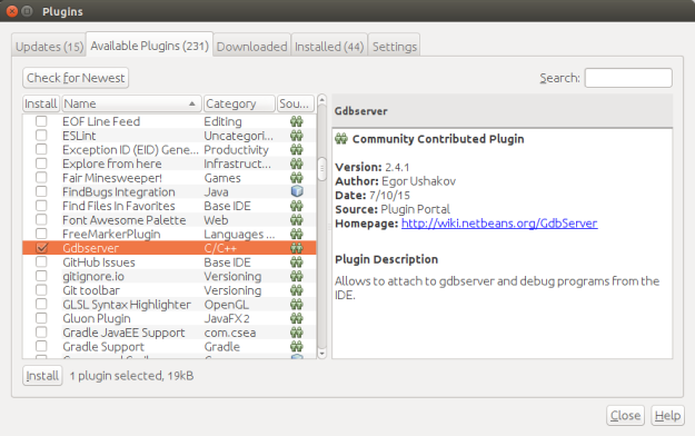 NetBeans available plugins dialog.