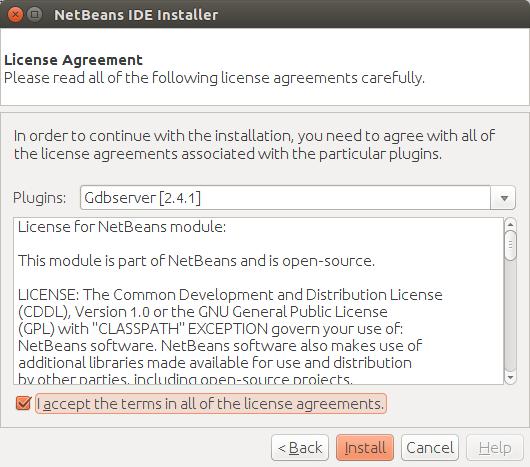 NetBeans plugin license agreement.